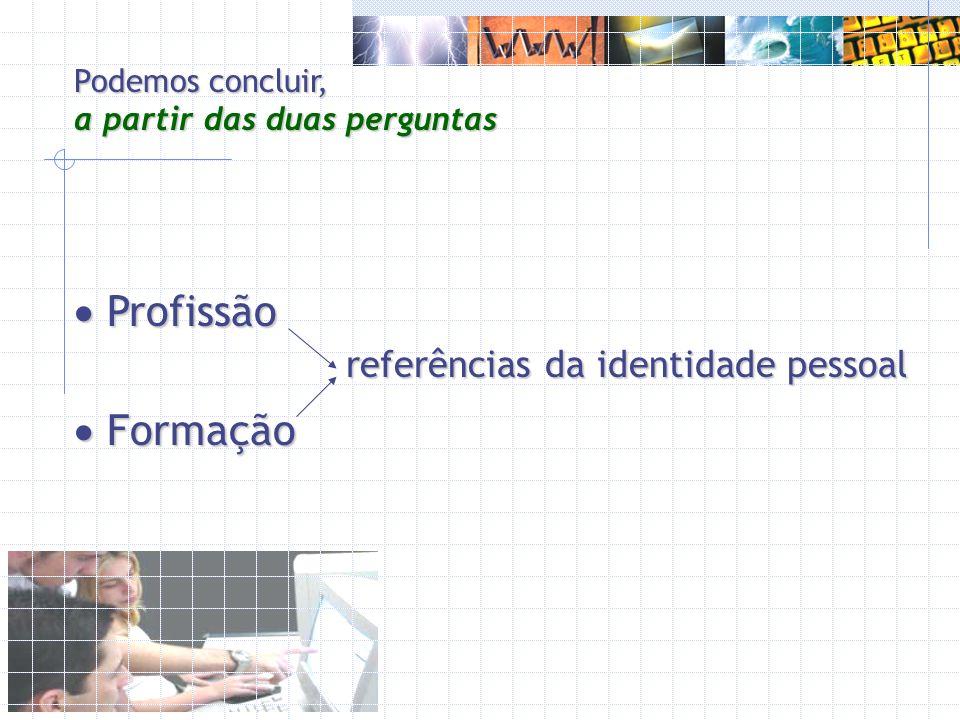 Profissão Profissão Formação Formação referências da identidade pessoal Podemos concluir, a partir das duas perguntas