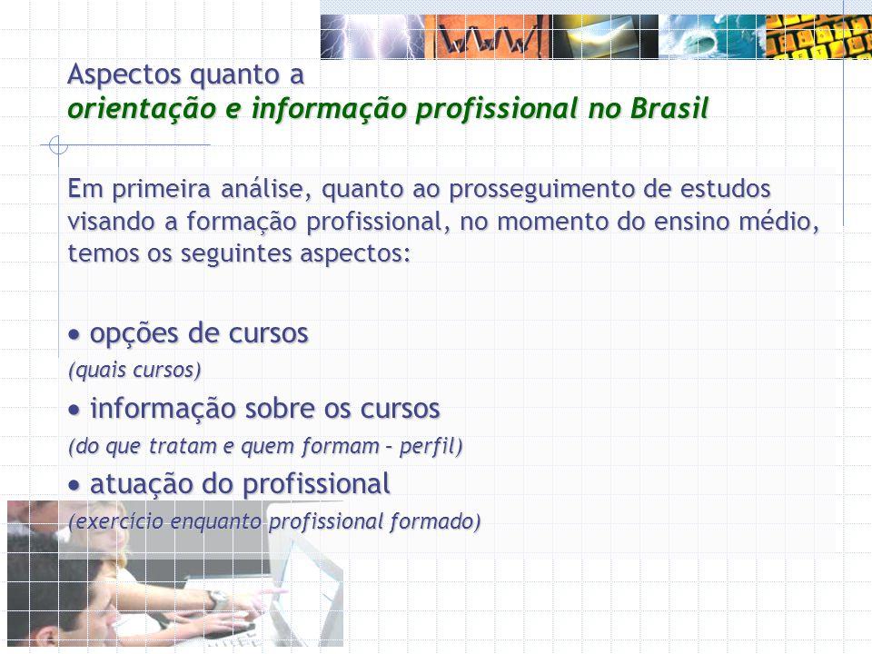 Aspectos quanto a orientação e informação profissional no Brasil Em primeira análise, quanto ao prosseguimento de estudos visando a formação profissio