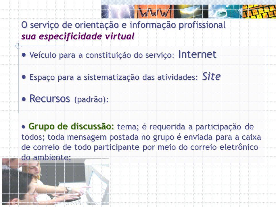 O serviço de orientação e informação profissional sua especificidade virtual Veículo para a constituição do serviço: Internet Veículo para a constitui