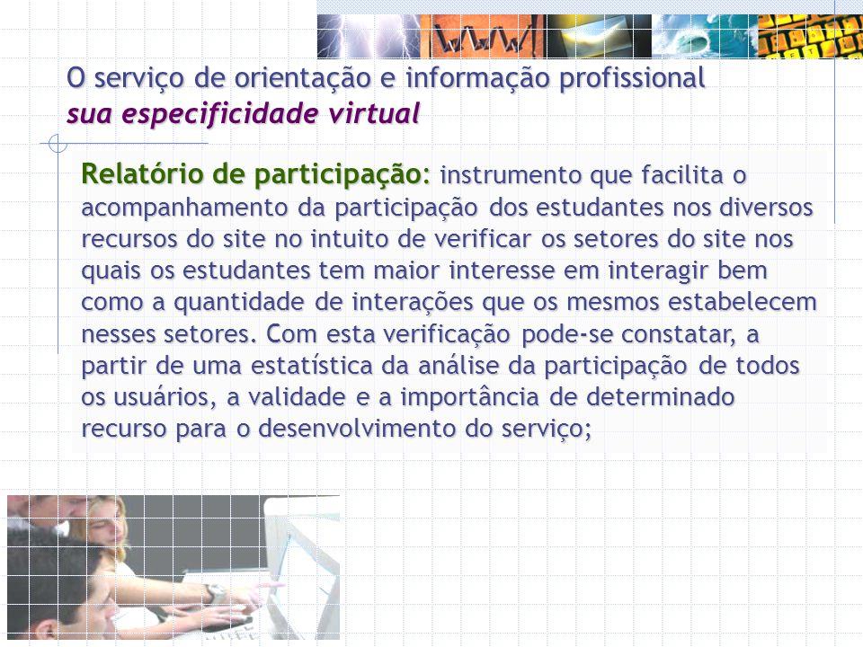 Relatório de participação: instrumento que facilita o acompanhamento da participação dos estudantes nos diversos recursos do site no intuito de verifi