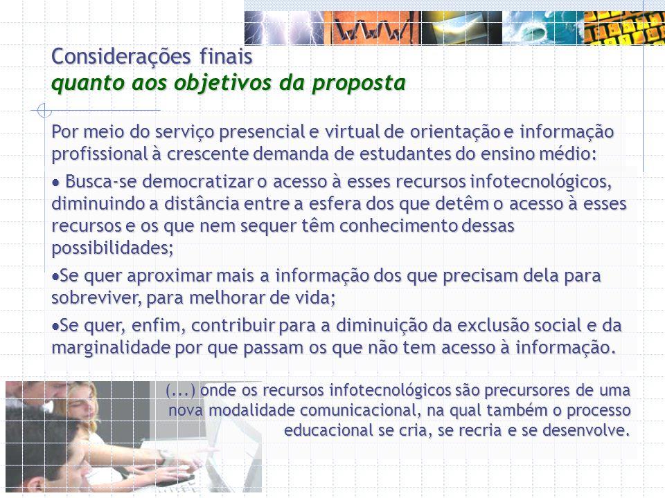 Considerações finais quanto aos objetivos da proposta Por meio do serviço presencial e virtual de orientação e informação profissional à crescente dem