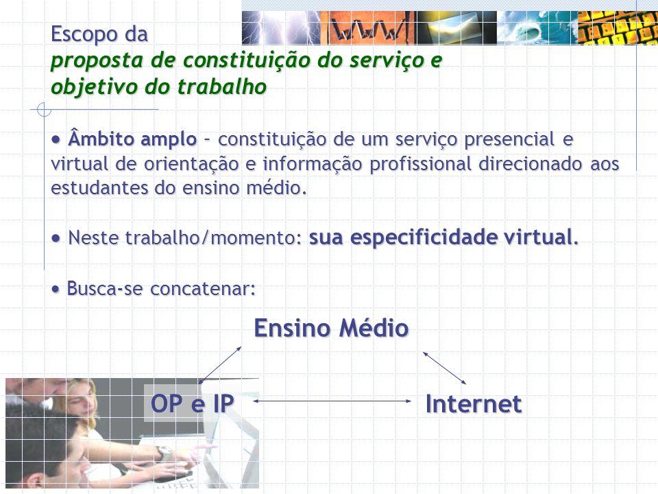 Âmbito amplo – constituição de um serviço presencial e virtual de orientação e informação profissional direcionado aos estudantes do ensino médio. Âmb