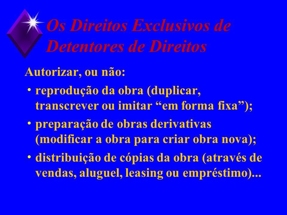 Os Direitos Exclusivos de Detentores de Direitos Autorizar, ou não: reprodução da obra (duplicar, transcrever ou imitar em forma fixa); preparação de