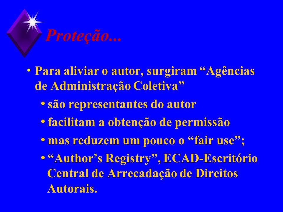 Proteção... Para aliviar o autor, surgiram Agências de Administração Coletiva são representantes do autor facilitam a obtenção de permissão mas reduze