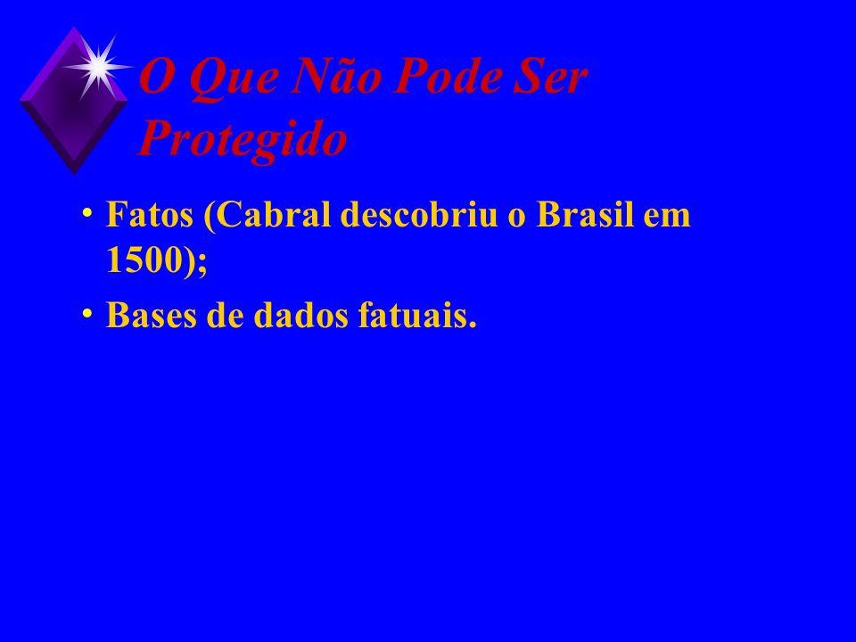 O Que Não Pode Ser Protegido Fatos (Cabral descobriu o Brasil em 1500); Bases de dados fatuais.