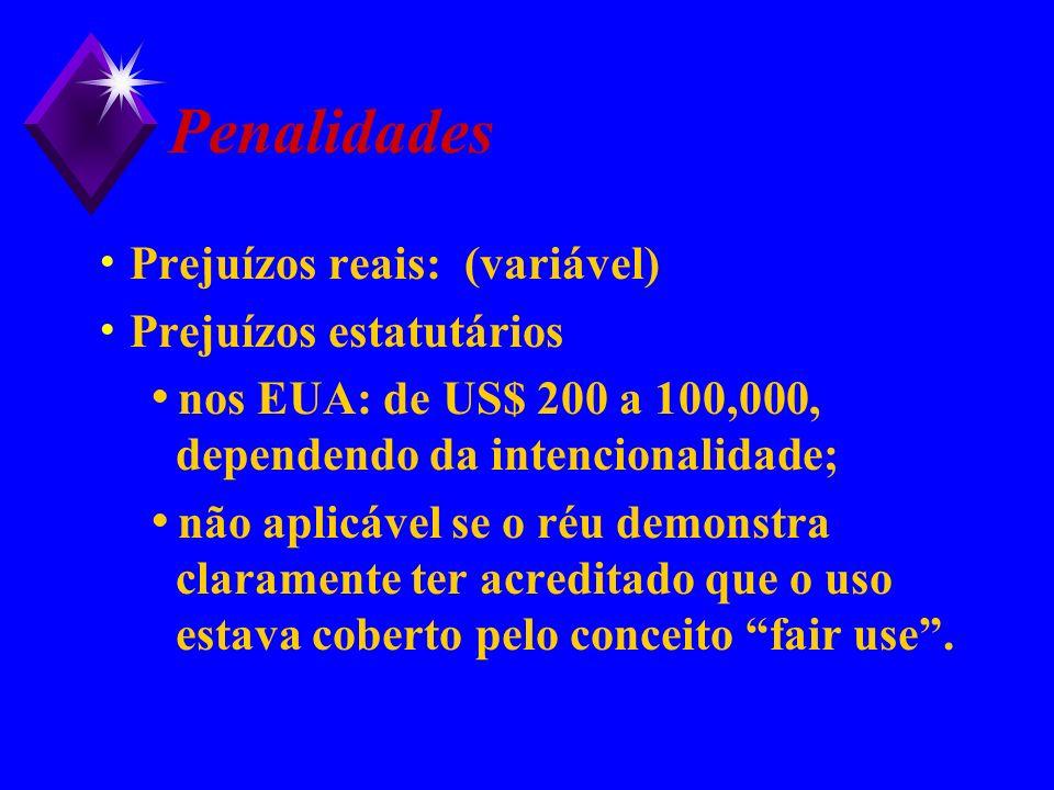 Penalidades Prejuízos reais: (variável) Prejuízos estatutários nos EUA: de US$ 200 a 100,000, dependendo da intencionalidade; não aplicável se o réu d
