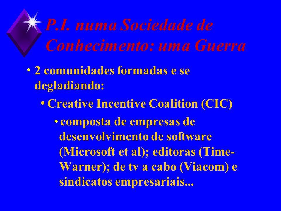 P.I. numa Sociedade de Conhecimento: uma Guerra 2 comunidades formadas e se degladiando: Creative Incentive Coalition (CIC) composta de empresas de de