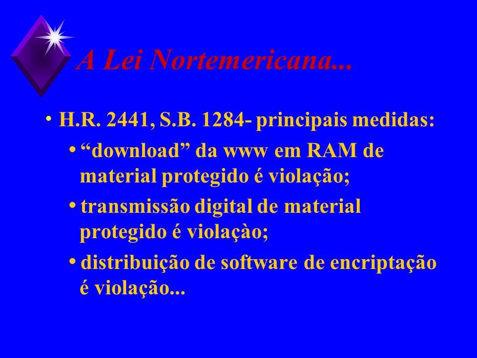A Lei Nortemericana... H.R. 2441, S.B. 1284- principais medidas: download da www em RAM de material protegido é violação; transmissão digital de mater