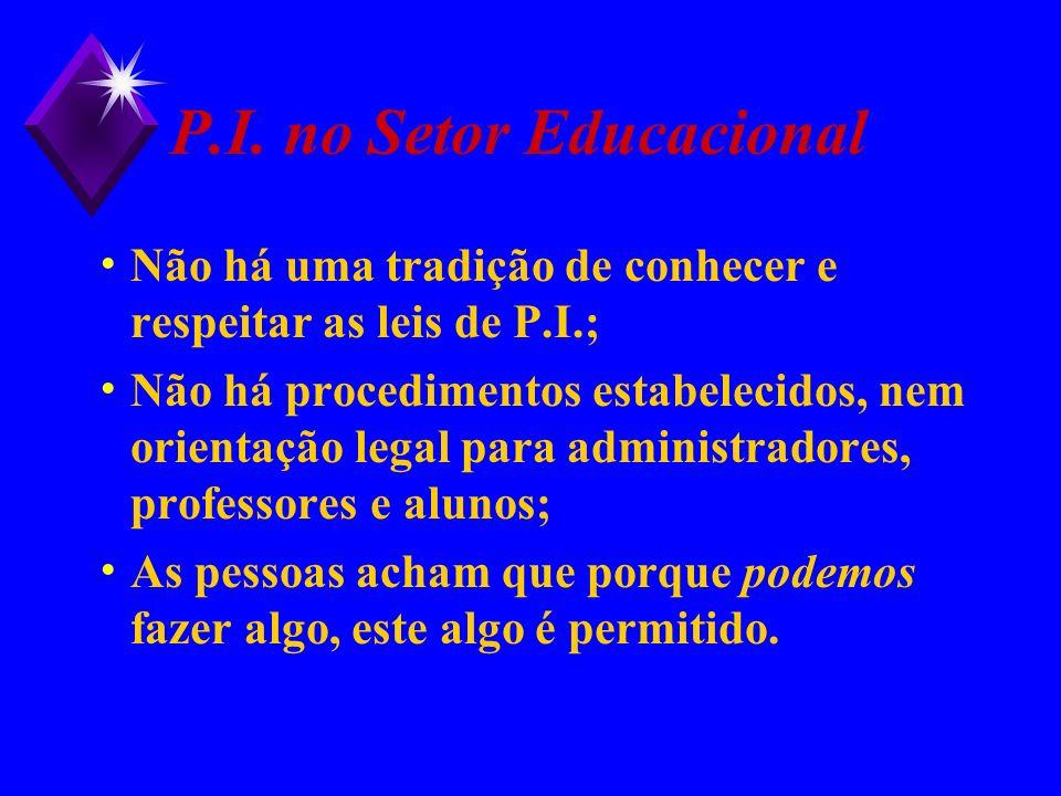 P.I. no Setor Educacional Não há uma tradição de conhecer e respeitar as leis de P.I.; Não há procedimentos estabelecidos, nem orientação legal para a