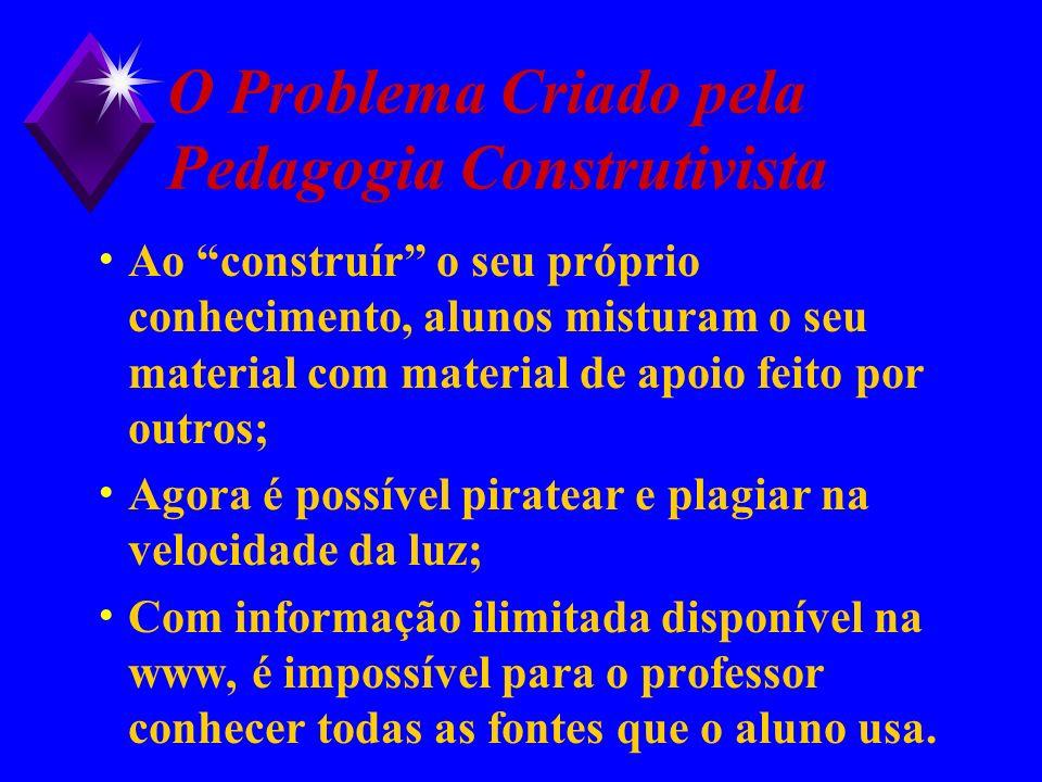 O Problema Criado pela Pedagogia Construtivista Ao construír o seu próprio conhecimento, alunos misturam o seu material com material de apoio feito po