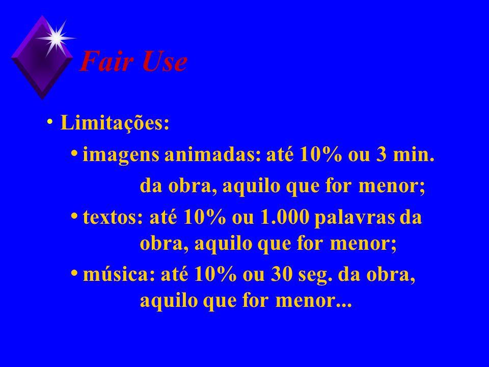 Fair Use Limitações: imagens animadas: até 10% ou 3 min. da obra, aquilo que for menor; textos: até 10% ou 1.000 palavras da obra, aquilo que for meno