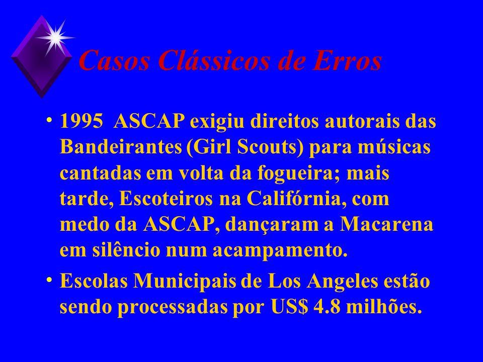 Casos Clássicos de Erros 1995 ASCAP exigiu direitos autorais das Bandeirantes (Girl Scouts) para músicas cantadas em volta da fogueira; mais tarde, Es