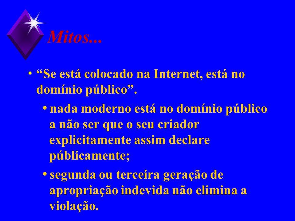 Mitos... Se está colocado na Internet, está no domínio público. nada moderno está no domínio público a não ser que o seu criador explicitamente assim