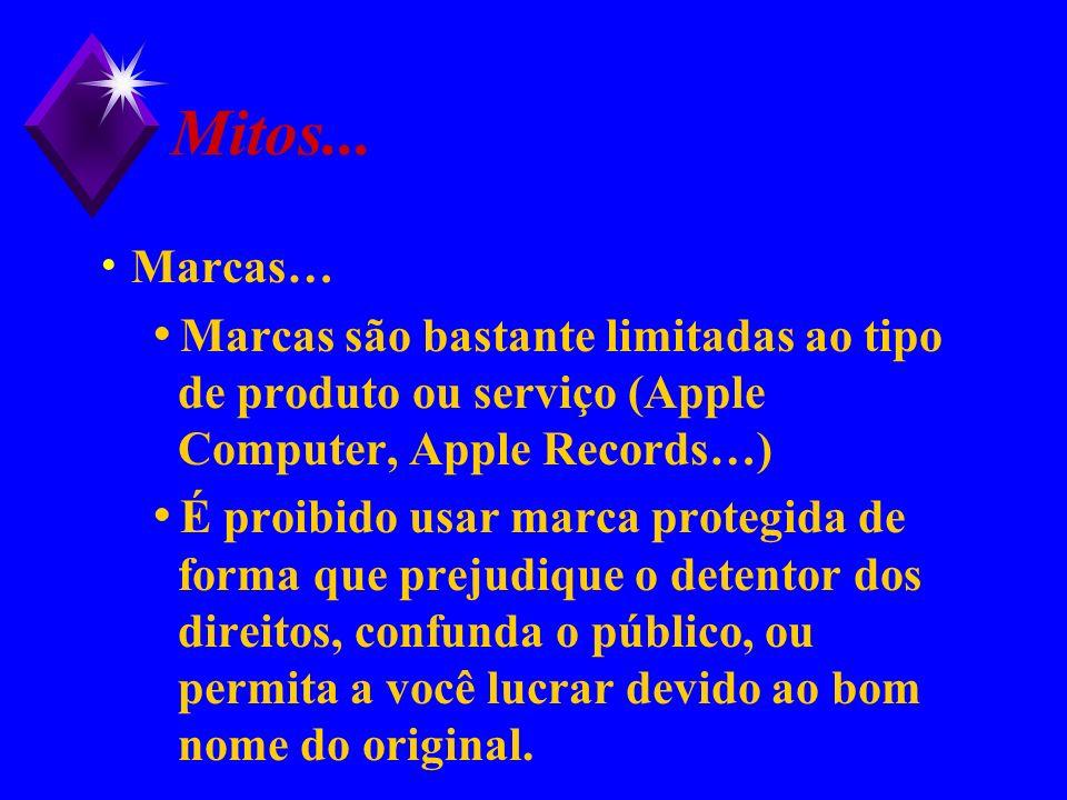 Mitos... Marcas… Marcas são bastante limitadas ao tipo de produto ou serviço (Apple Computer, Apple Records…) É proibido usar marca protegida de forma
