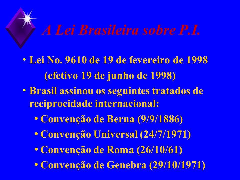 A Lei Brasileira sobre P.I. Lei No. 9610 de 19 de fevereiro de 1998 (efetivo 19 de junho de 1998) Brasil assinou os seguintes tratados de reciprocidad