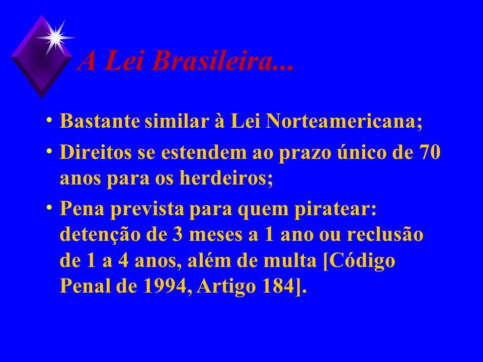 A Lei Brasileira... Bastante similar à Lei Norteamericana; Direitos se estendem ao prazo único de 70 anos para os herdeiros; Pena prevista para quem p