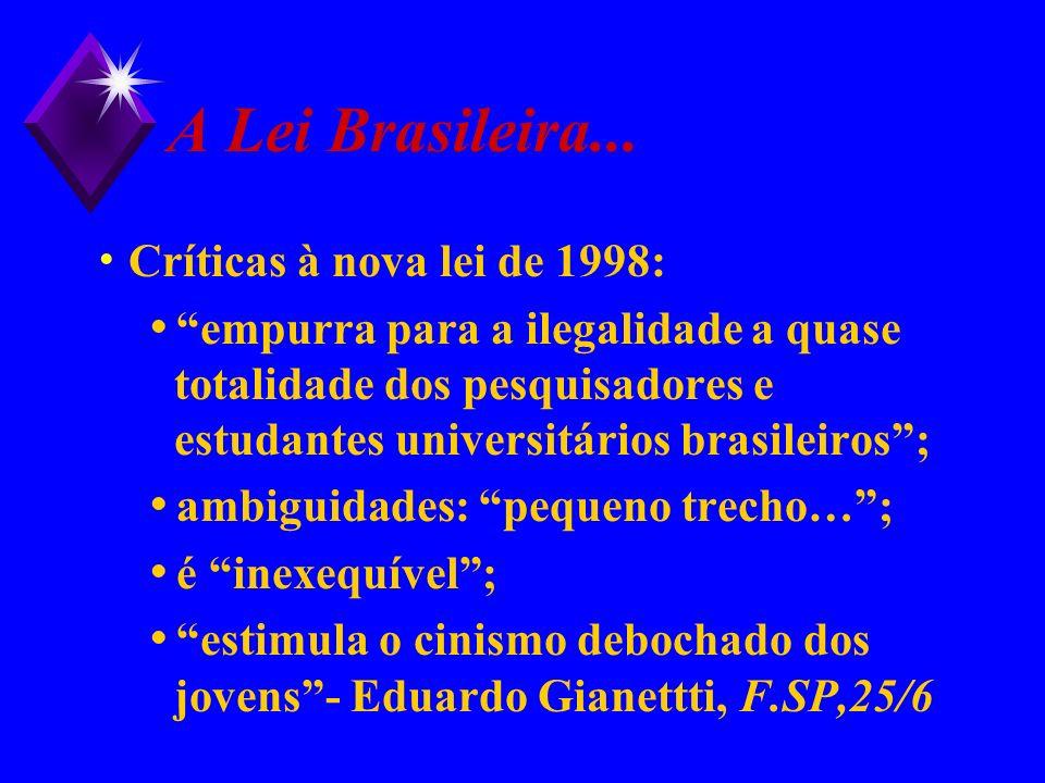 A Lei Brasileira... Críticas à nova lei de 1998: empurra para a ilegalidade a quase totalidade dos pesquisadores e estudantes universitários brasileir
