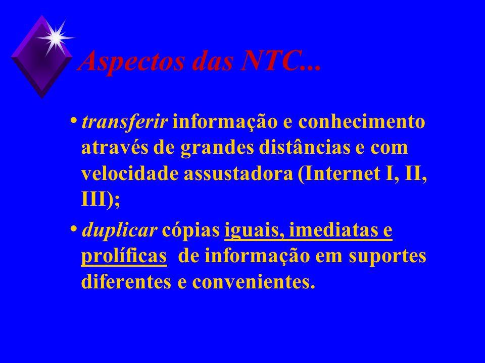 Aspectos das NTC... transferir informação e conhecimento através de grandes distâncias e com velocidade assustadora (Internet I, II, III); duplicar có