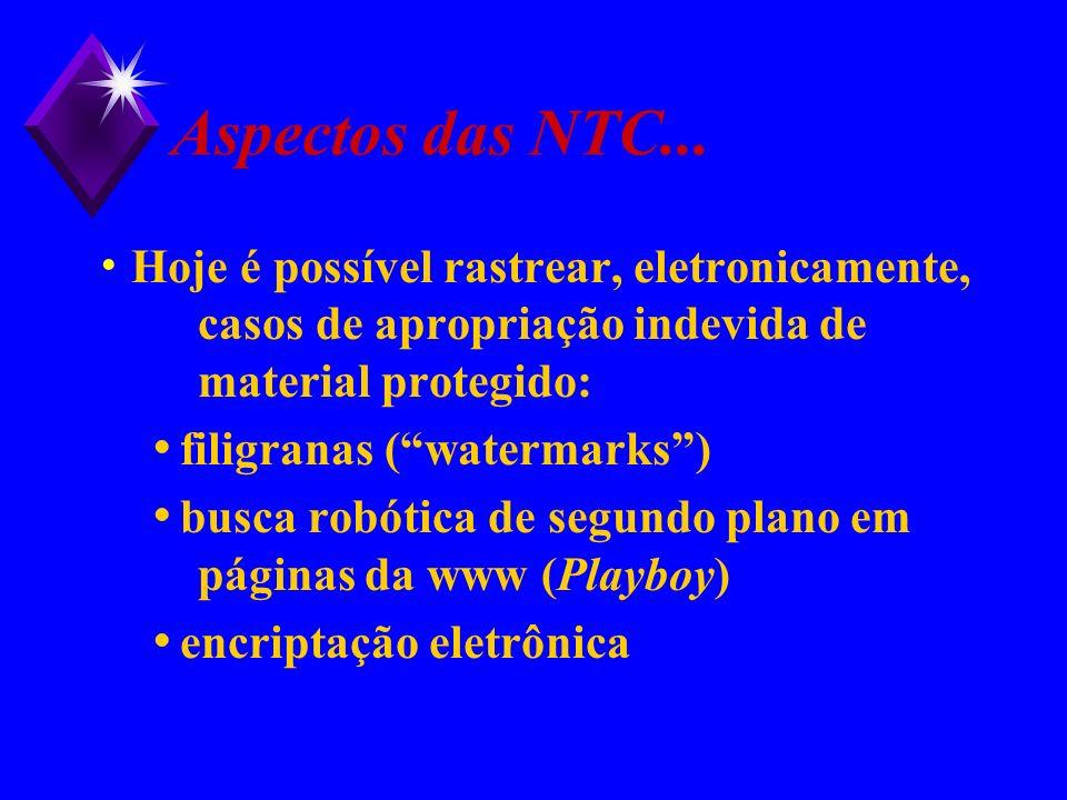 Aspectos das NTC... Hoje é possível rastrear, eletronicamente, casos de apropriação indevida de material protegido: filigranas (watermarks) busca robó