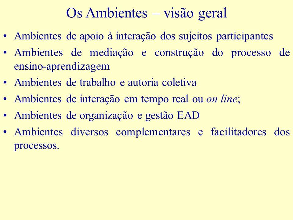 Os Ambientes – visão geral Ambientes de apoio à interação dos sujeitos participantes Ambientes de mediação e construção do processo de ensino-aprendiz