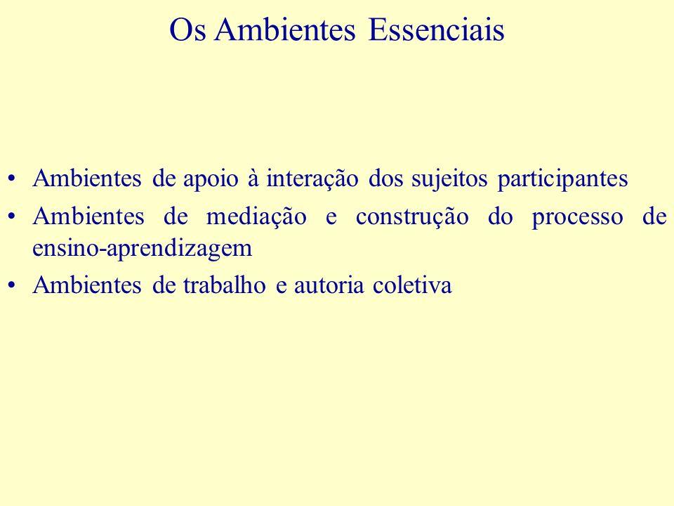 Os Ambientes Essenciais Ambientes de apoio à interação dos sujeitos participantes Ambientes de mediação e construção do processo de ensino-aprendizage