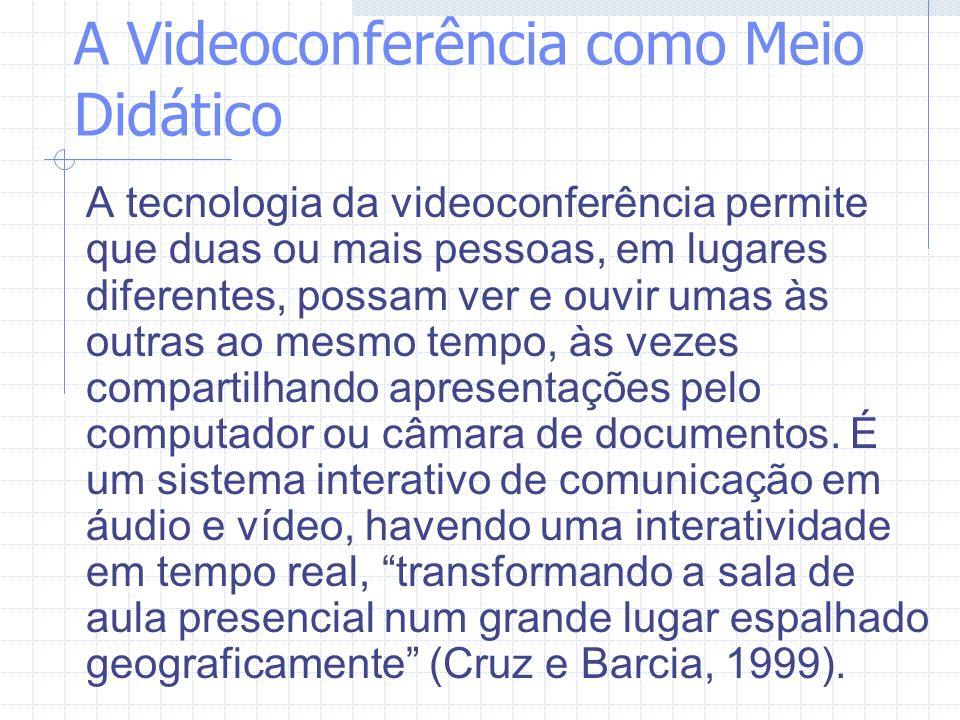 A Videoconferência como Meio Didático A tecnologia da videoconferência permite que duas ou mais pessoas, em lugares diferentes, possam ver e ouvir uma