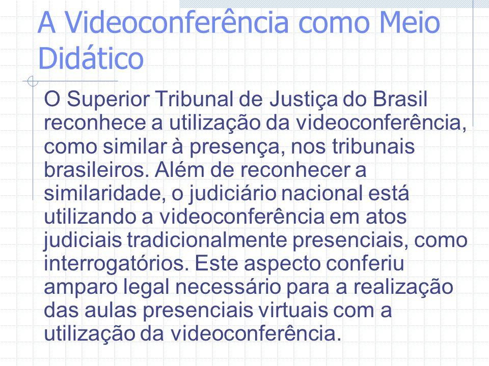 A Videoconferência como Meio Didático O Superior Tribunal de Justiça do Brasil reconhece a utilização da videoconferência, como similar à presença, no