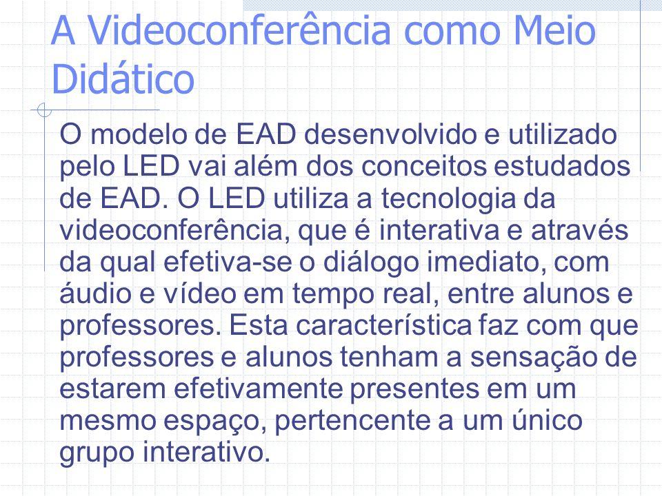 A Videoconferência como Meio Didático O modelo de EAD desenvolvido e utilizado pelo LED vai além dos conceitos estudados de EAD. O LED utiliza a tecno