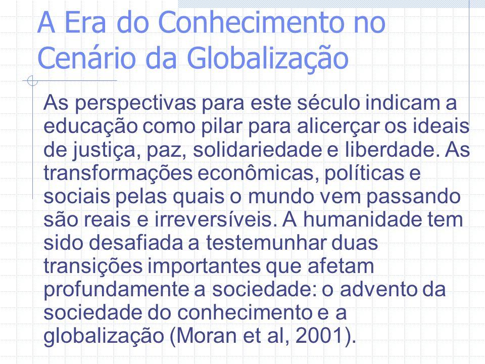 A Era do Conhecimento no Cenário da Globalização As perspectivas para este século indicam a educação como pilar para alicerçar os ideais de justiça, p