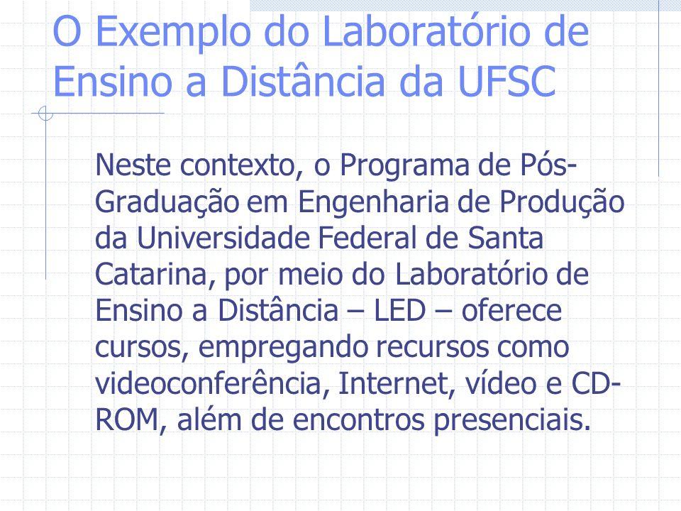 O Exemplo do Laboratório de Ensino a Distância da UFSC Neste contexto, o Programa de Pós- Graduação em Engenharia de Produção da Universidade Federal