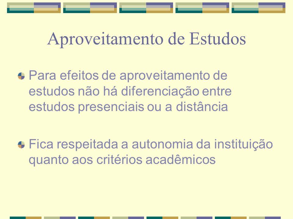 Aproveitamento de Estudos Para efeitos de aproveitamento de estudos não há diferenciação entre estudos presenciais ou a distância Fica respeitada a au