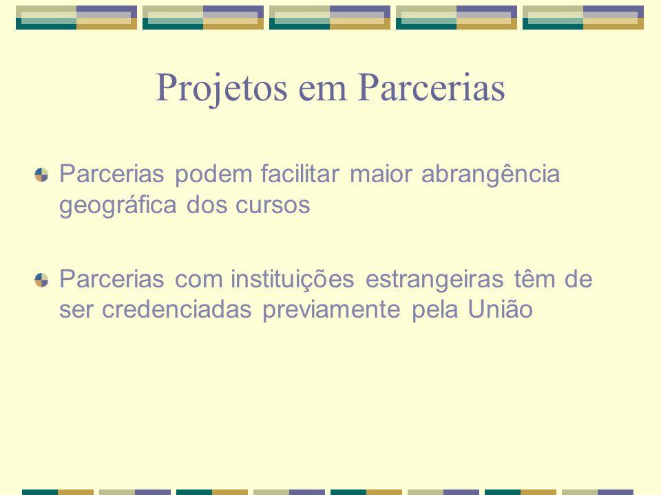 Projetos em Parcerias Parcerias podem facilitar maior abrangência geográfica dos cursos Parcerias com instituições estrangeiras têm de ser credenciada