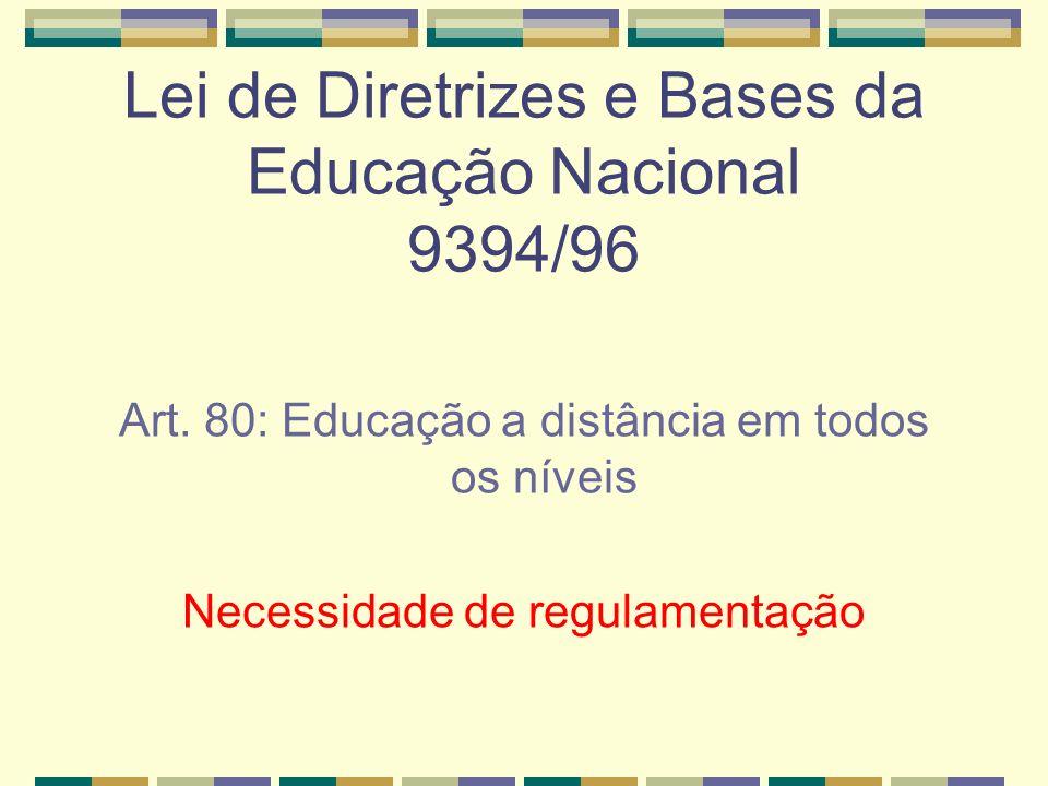 Lei de Diretrizes e Bases da Educação Nacional 9394/96 Art. 80: Educação a distância em todos os níveis Necessidade de regulamentação