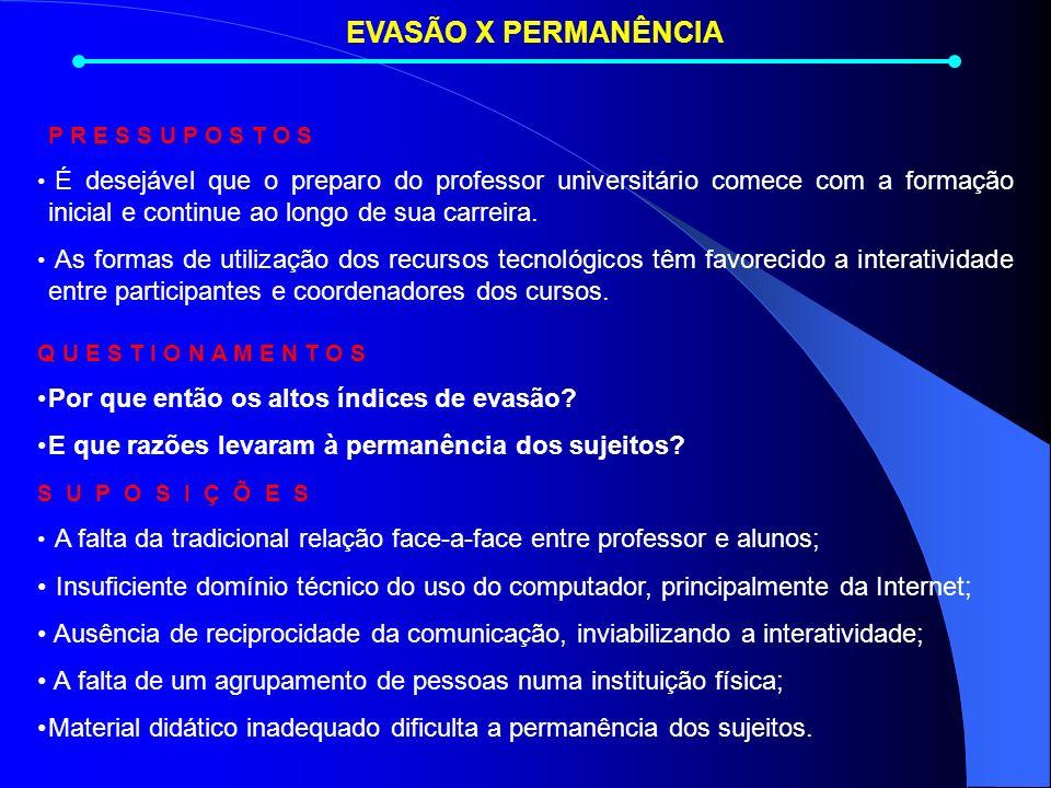 EVASÃO X PERMANÊNCIA P R E S S U P O S T O S É desejável que o preparo do professor universitário comece com a formação inicial e continue ao longo de sua carreira.