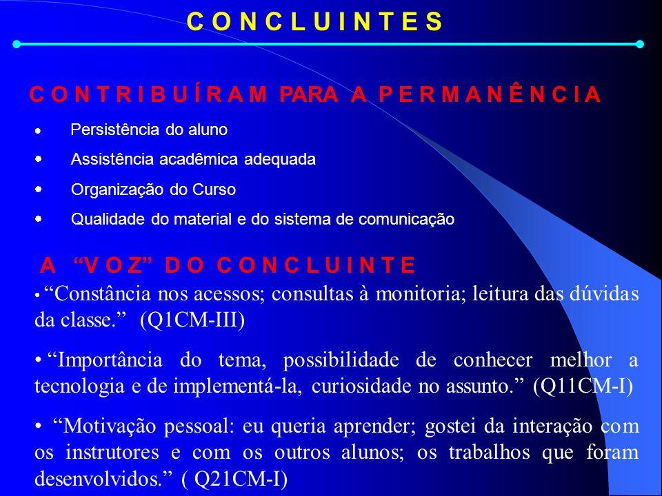 C O N C L U I N T E S Constância nos acessos; consultas à monitoria; leitura das dúvidas da classe.