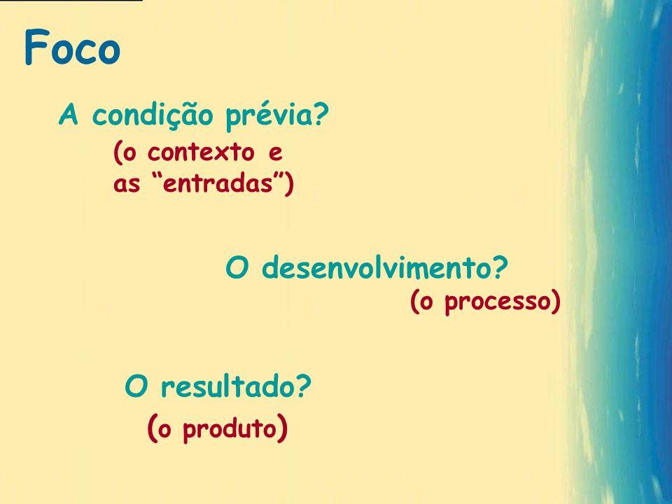 A condição prévia? (o processo) ( o produto ) (o contexto e as entradas) O desenvolvimento? O resultado? Foco