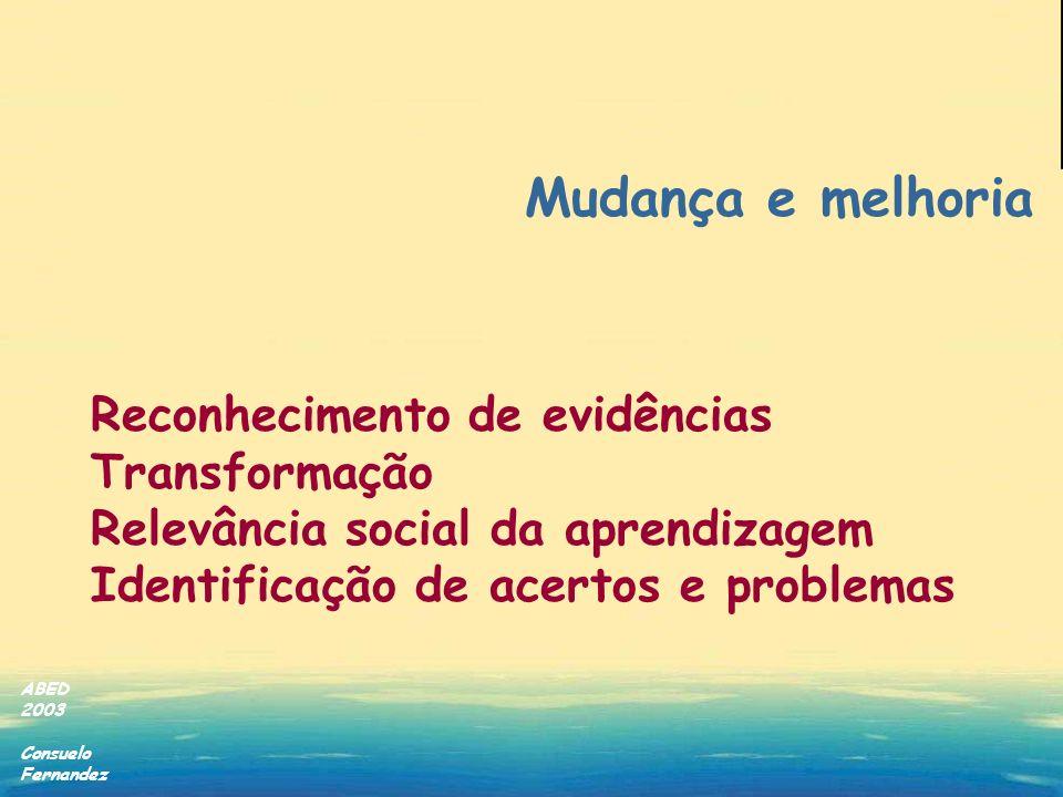 ABED 2003 Consuelo Fernandez Mudança e melhoria Reconhecimento de evidências Transformação Relevância social da aprendizagem Identificação de acertos