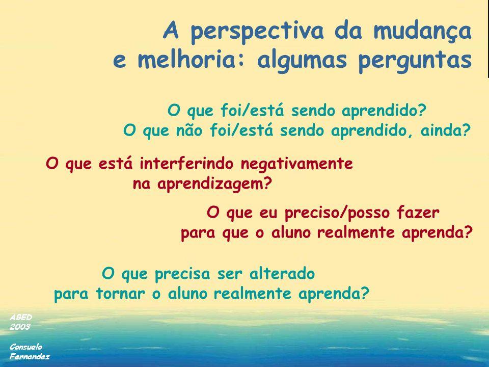 ABED 2003 Consuelo Fernandez O que está interferindo negativamente na aprendizagem? O que foi/está sendo aprendido? O que não foi/está sendo aprendido