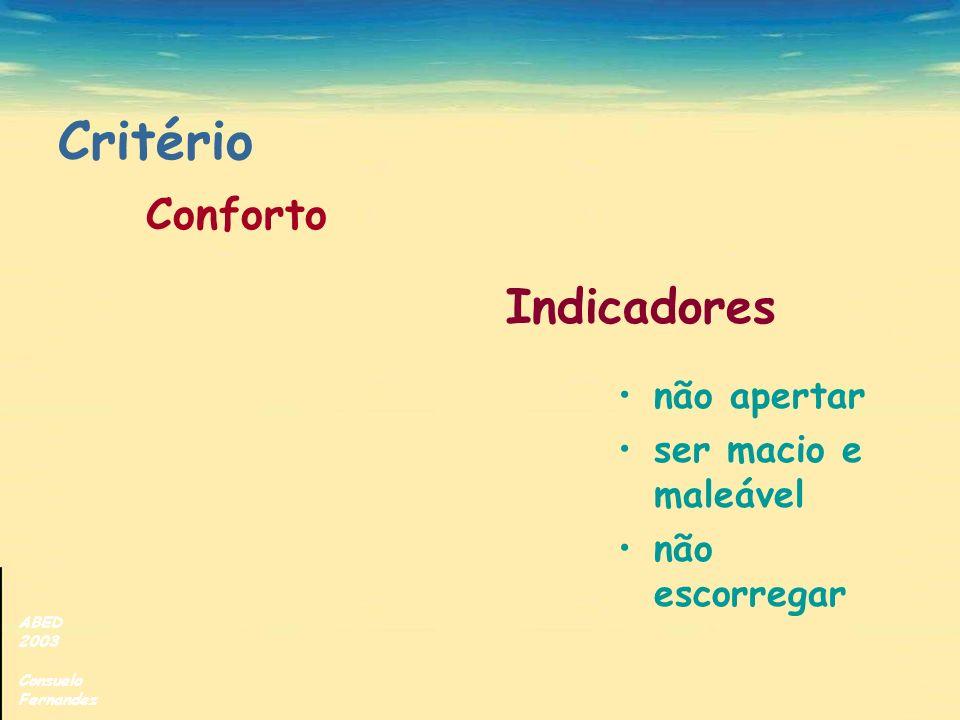 ABED 2003 Consuelo Fernandez Critério Conforto não apertar ser macio e maleável não escorregar Indicadores