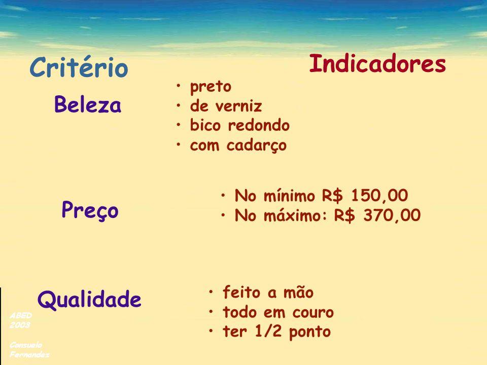 ABED 2003 Consuelo Fernandez Indicadores Beleza Preço Qualidade preto de verniz bico redondo com cadarço No mínimo R$ 150,00 No máximo: R$ 370,00 feit