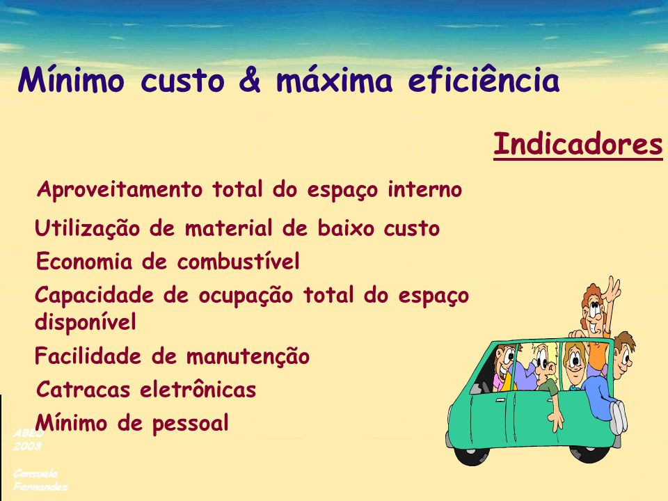ABED 2003 Consuelo Fernandez Mínimo custo & máxima eficiência Aproveitamento total do espaço interno Utilização de material de baixo custo Economia de