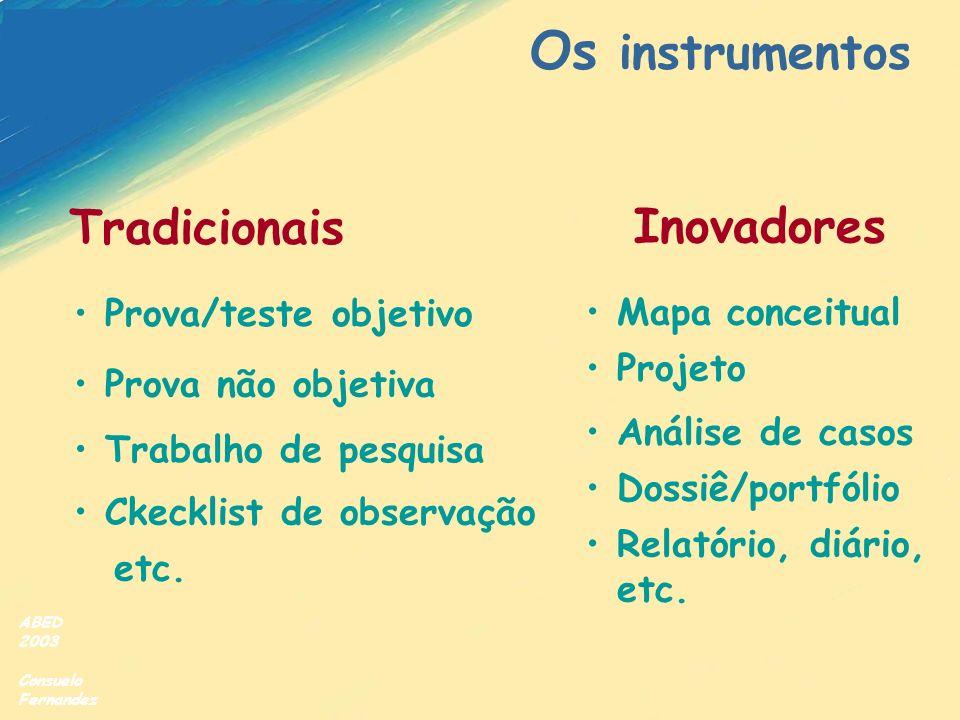 ABED 2003 Consuelo Fernandez Os instrumentos Tradicionais Inovadores Prova/teste objetivo Mapa conceitual Prova não objetiva Ckecklist de observação T