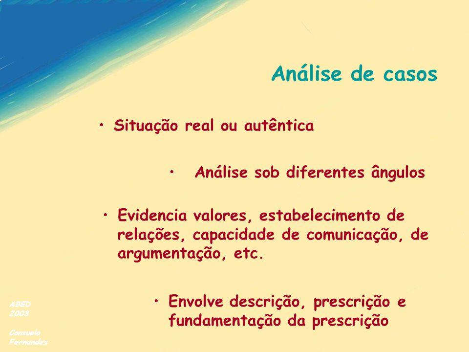ABED 2003 Consuelo Fernandez Análise de casos Situação real ou autêntica Envolve descrição, prescrição e fundamentação da prescrição Evidencia valores