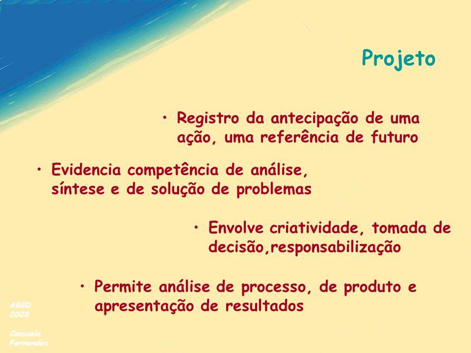ABED 2003 Consuelo Fernandez Projeto Registro da antecipação de uma ação, uma referência de futuro Envolve criatividade, tomada de decisão,responsabil