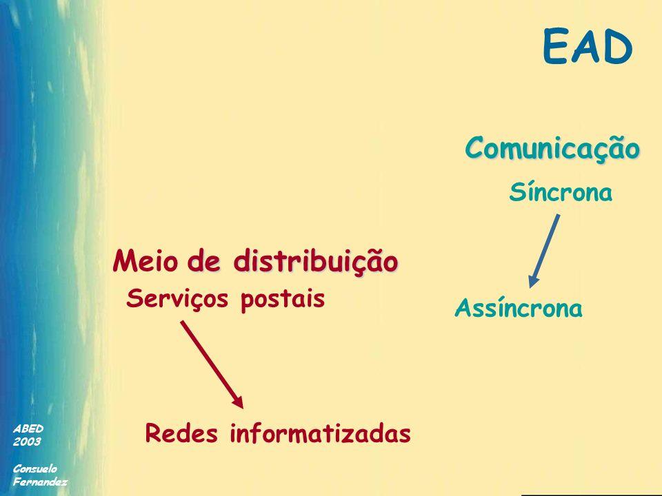 ABED 2003 Consuelo Fernandez de distribuição Meio de distribuição Serviços postais Redes informatizadas Comunicação Assíncrona Síncrona EAD