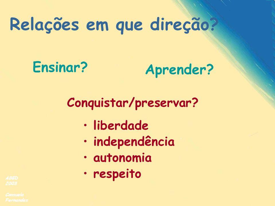 ABED 2003 Consuelo Fernandez Ensinar? Aprender? Conquistar/preservar? liberdade independência autonomia respeito Relações em que direção?