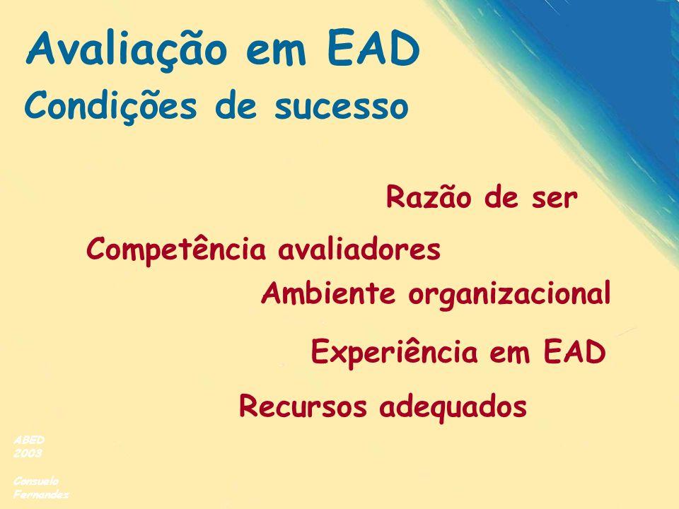 ABED 2003 Consuelo Fernandez Avaliação em EAD Condições de sucesso Razão de ser Competência avaliadores Recursos adequados Ambiente organizacional Exp