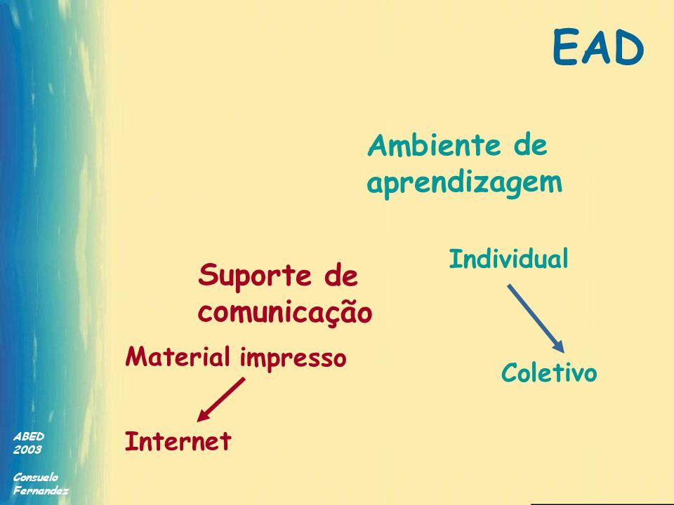 ABED 2003 Consuelo Fernandez Suporte de comunicação Ambiente de aprendizagem Internet Coletivo Individual Material impresso EAD