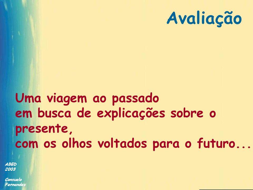 ABED 2003 Consuelo Fernandez Avaliação em EAD Condições de sucesso Razão de ser Competência avaliadores Recursos adequados Ambiente organizacional Experiência em EAD