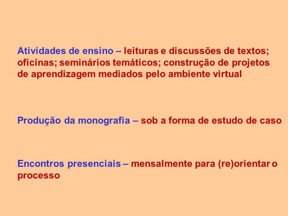 Atividades de ensino – leituras e discussões de textos; oficinas; seminários temáticos; construção de projetos de aprendizagem mediados pelo ambiente